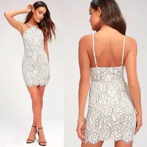 Lulu's   Delicate Darling White Lace Bodycon Dress